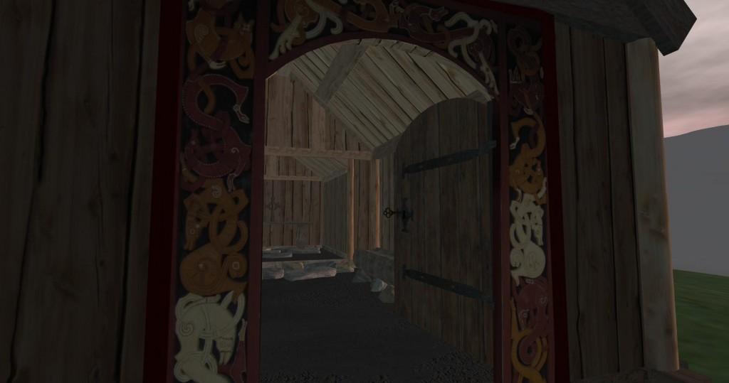 Viking door carving detail.