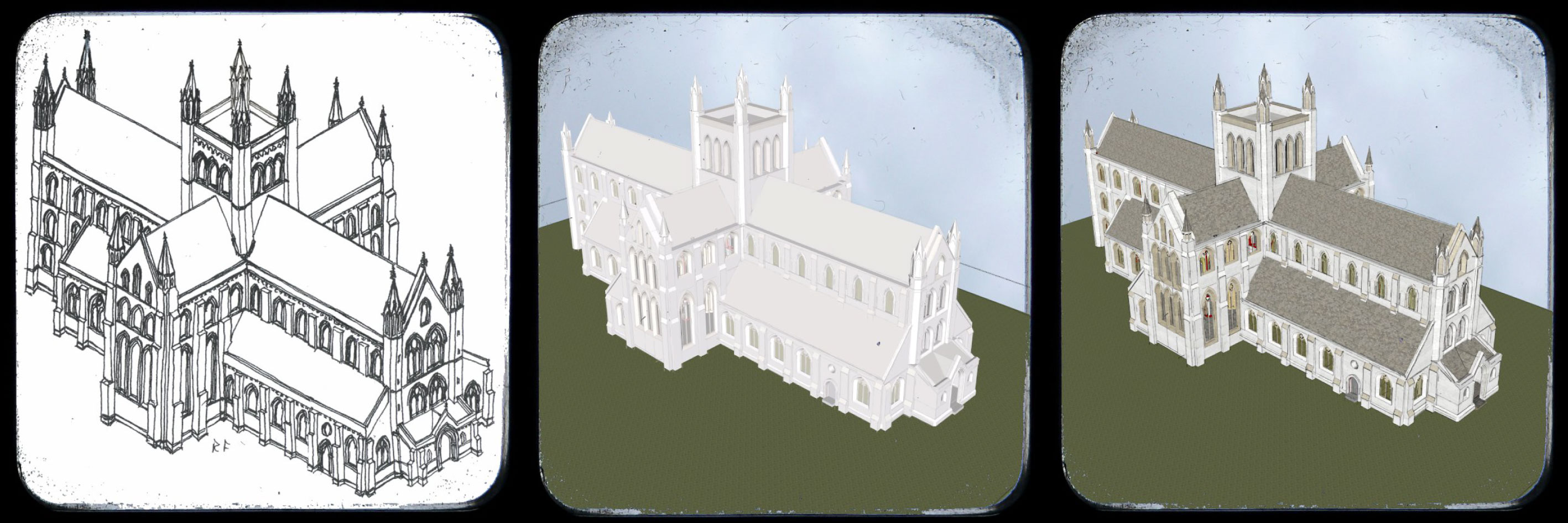 From a sketch by Prof Richard Fawcett to our 3D representation. Using the scale and layout from the archaeological dig, creating a 2D sketch and then a 3D model we gain a better understanding of how the Abbey would have looked.