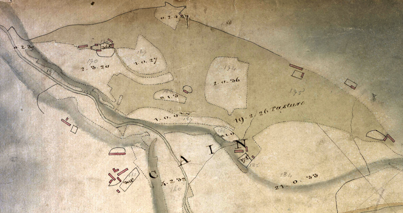 Original map of the Caen area, pre dating the clearances.